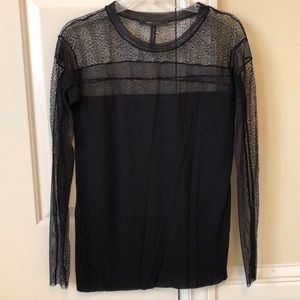 BCBG black lace mesh top long sleeve blouse